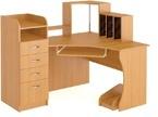Угловой письменный стол для школьника с ящиками и полками  фото